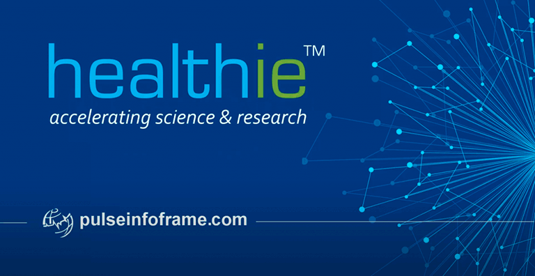 healthie logo on graphic with words Accelerating science & research
