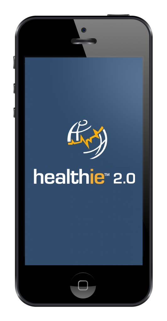Pulse Infoframe's healthie 2.0 logo displayed in the screen of a mobile phone